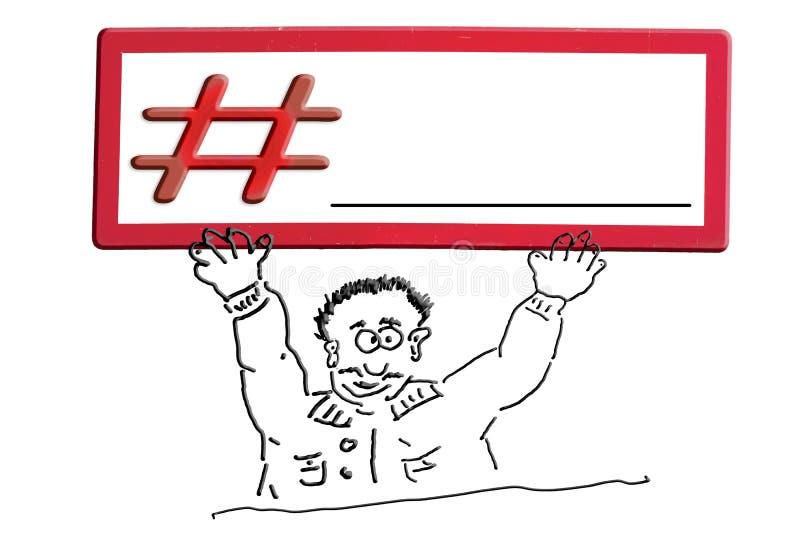 Remettez le chiffre comique de dessin avec l'inscription Hashtag de signe illustration stock