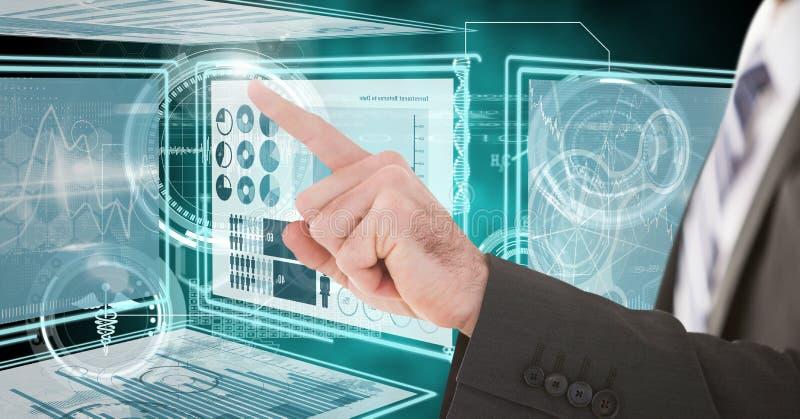 Remettez le contact et l'interaction avec des panneaux d'interface de technologie image stock