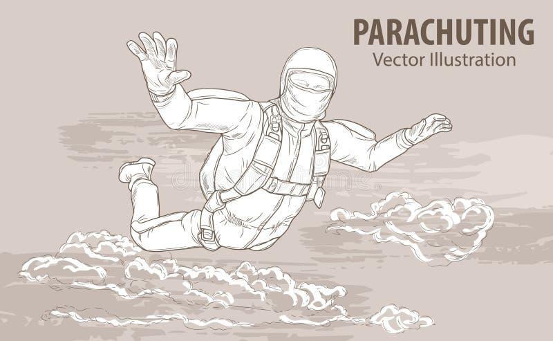 Remettez le croquis de l'athlète de parachutisme dans les nuages Illustration de sport de vecteur Silhouette graphique du vol d'h illustration de vecteur