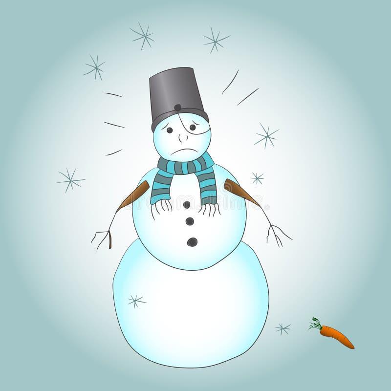 Remettez le dessin d'un bonhomme de neige triste qui a perdu sa nez-carotte illustration libre de droits