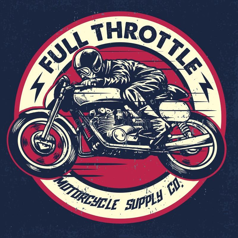 Remettez le dessin de l'homme montant une moto classique de coureur de café illustration stock