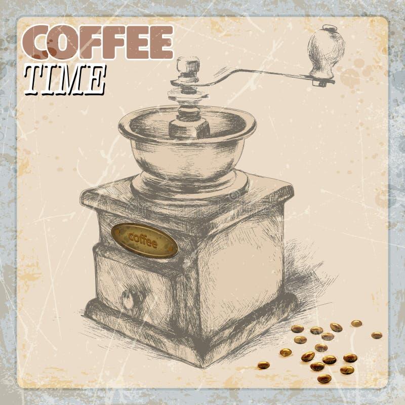 Remettez le dessin de la broyeur de café et de café de vintage, cadre grunge, monochrome Ilustration de vecteur illustration libre de droits