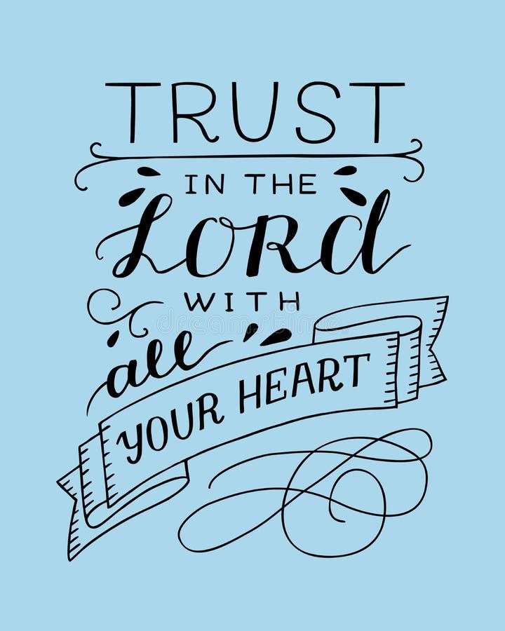 Remettez le lettrage avec la confiance de vers de bible dans le seigneur avec votre coeur sur le fond bleu illustration de vecteur