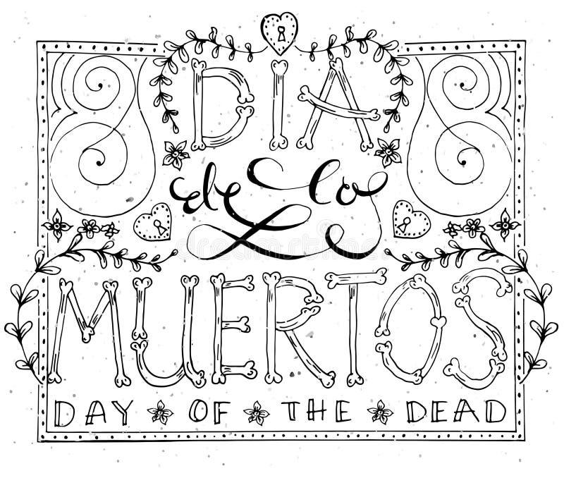 Remettez le lettrage esquissé 'Dia de los Muertos' illustration de vecteur