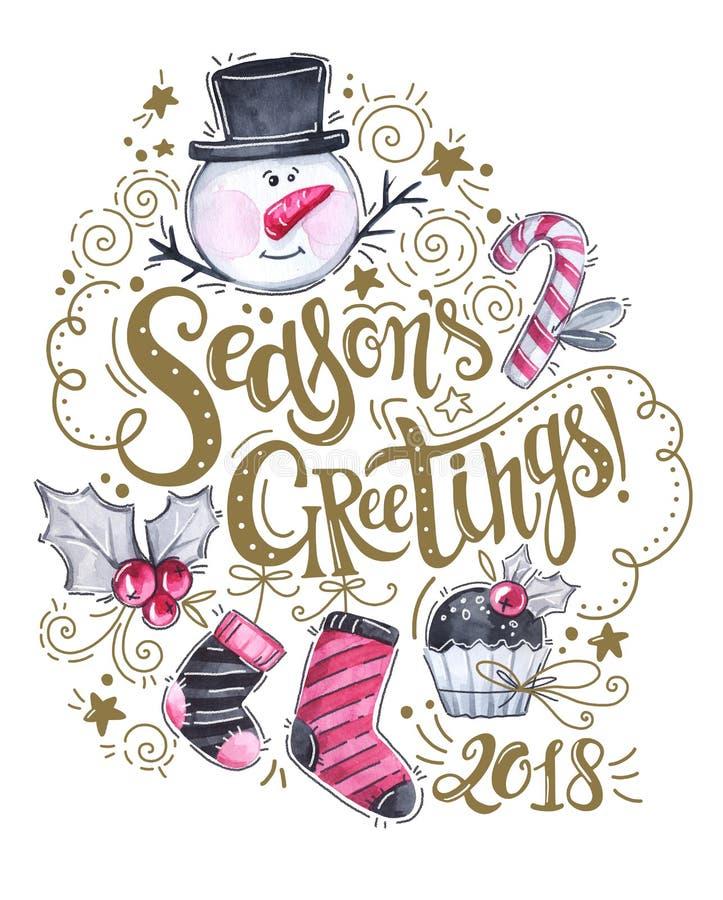 Remettez le logotype de salutations du ` s de saison, le bonhomme de neige d'aquarelle, les chaussettes, le gâteau et les décorat illustration libre de droits