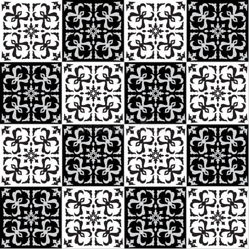 Remettez le modèle sans couture de dessin pour la tuile dans des couleurs noires et blanches illustration de vecteur