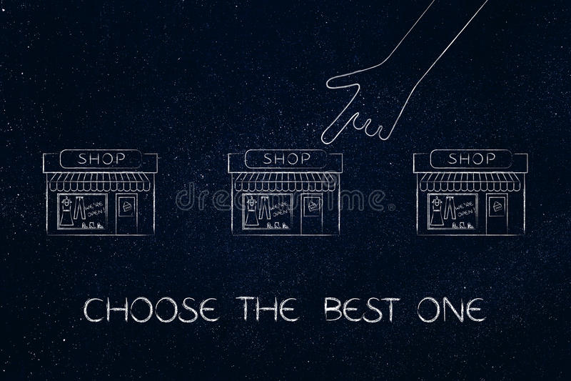 Remettez le pointage à une boutique parmi beaucoup, choisissez le meilleur illustration de vecteur