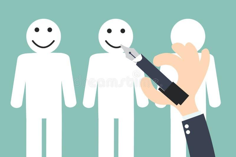 Remettez le smiley d'écriture sur le client - conservation de client illustration stock