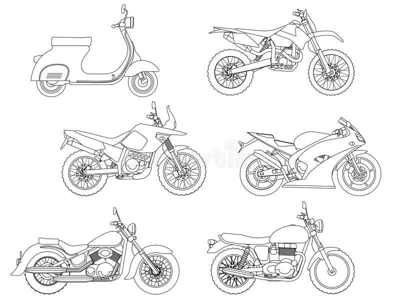 Remettez le style d'aspiration d'une nouvelle illustration de moto de vecteur pour livre de coloriage photos stock