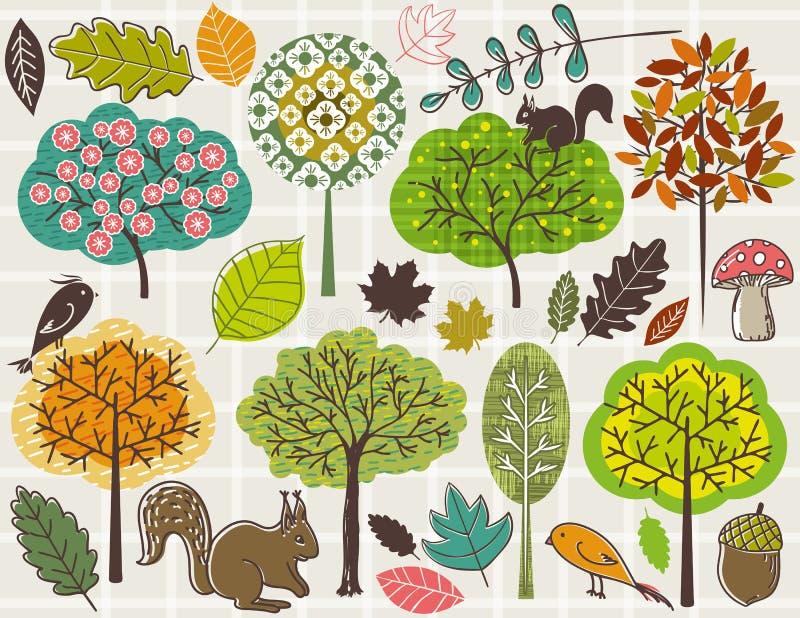Remettez les arbres et les lames d'attraction au-dessus du fond contrôlé illustration stock