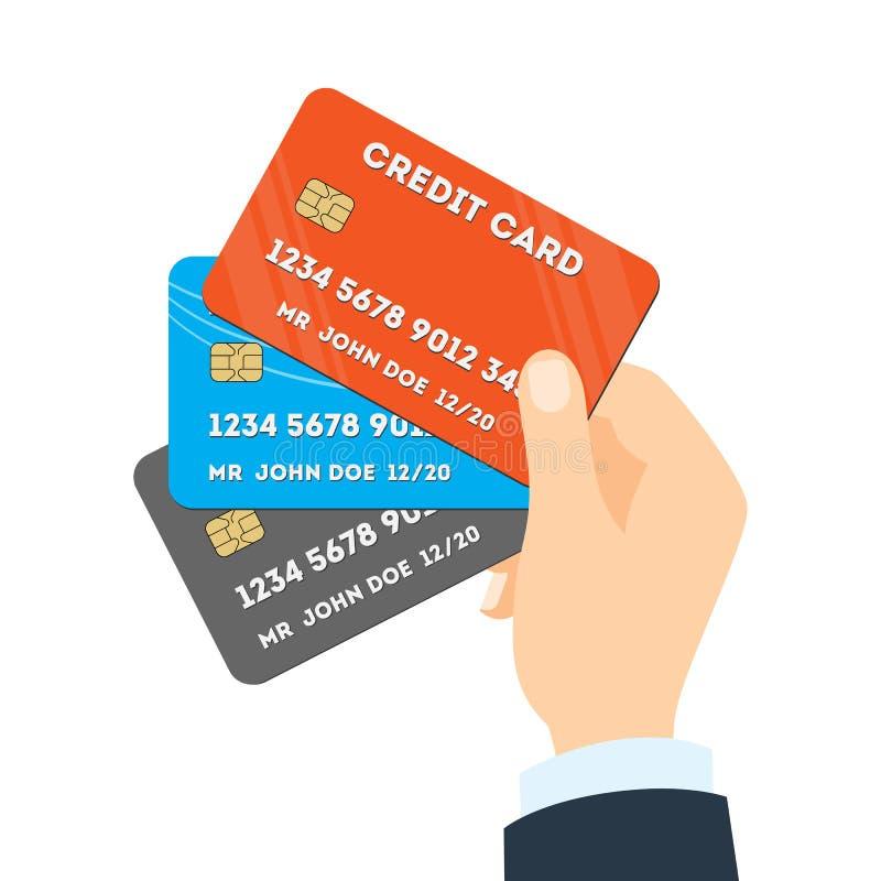 Remettez les cartes de crédit de fixation illustration de vecteur