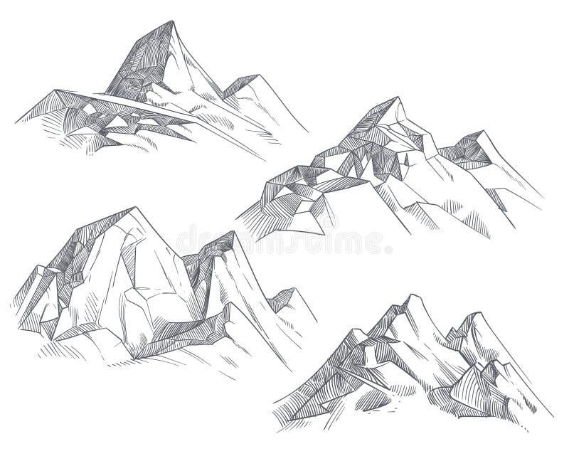 Remettez les crêtes de montagne de dessin a isolé la rétro illustration de vecteur de croquis gravure à l'eau-forte illustration stock