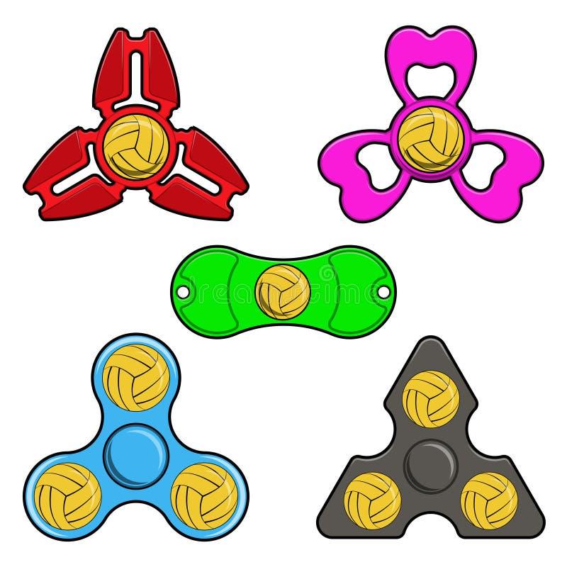 Remettez les jouets de fileur avec la boule de polo de l'eau, icônes plates de vecteur illustration stock