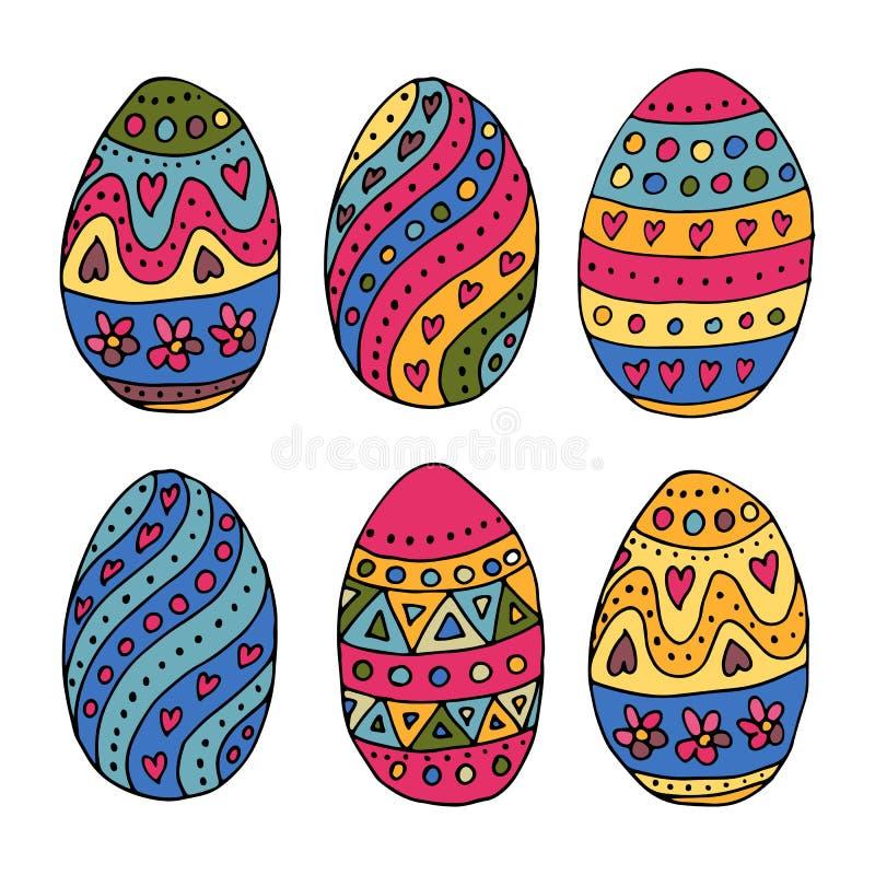 Remettez les oeufs de pâques esquissés comme insignes et icônes de Pâques illustration stock