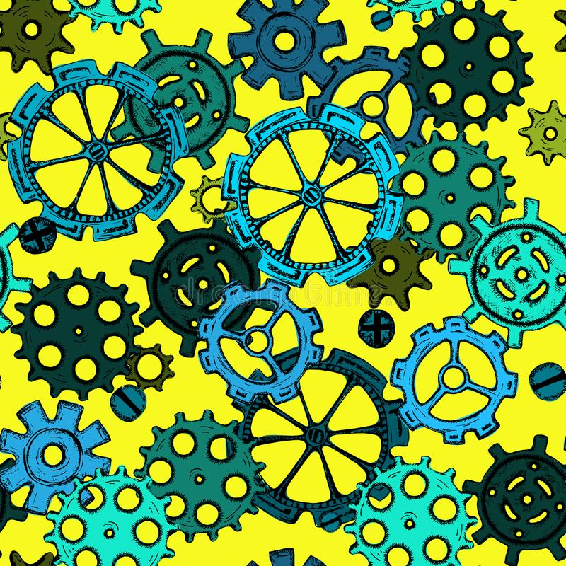 Remettez les pignon-roues de croquis de dessin, modèle sans couture de vitesses colorées illustration libre de droits