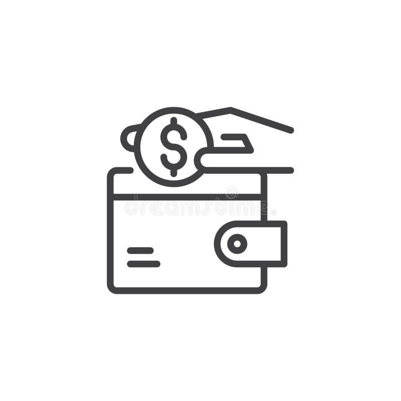 Remettez mettre des pièces de monnaie du dollar dans l'icône d'ensemble de portefeuille illustration libre de droits