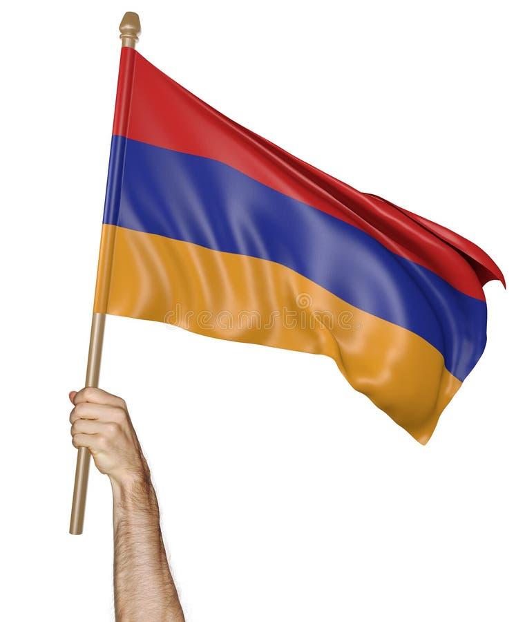 Remettez onduler fièrement le drapeau national de l'Arménie illustration de vecteur