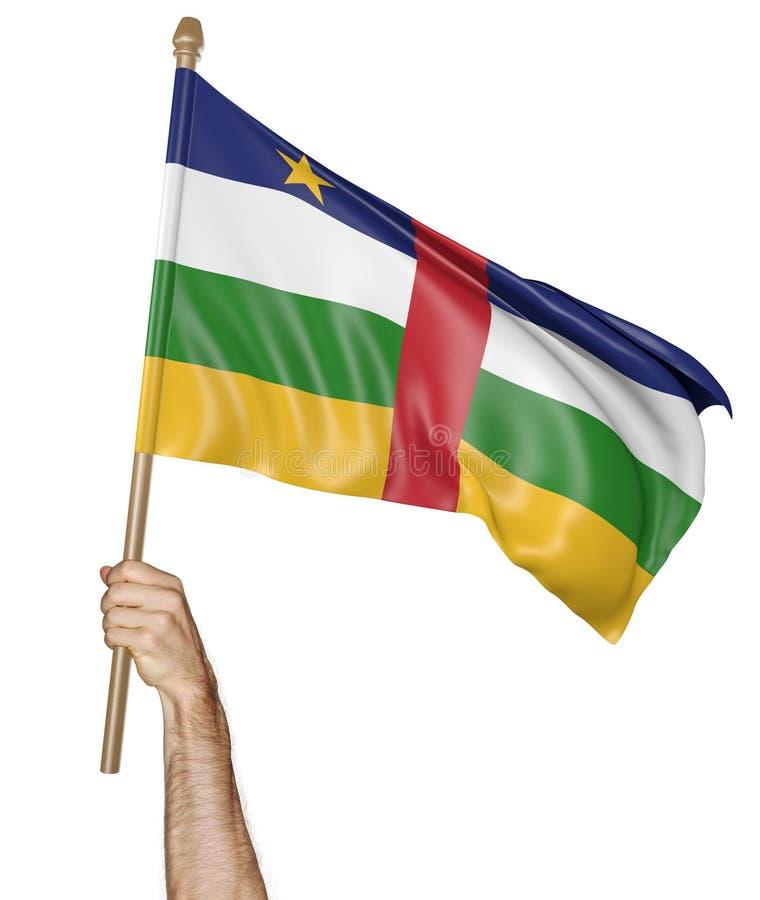 Remettez onduler fièrement le drapeau national de République Centrafricaine a isolé sur un fond blanc, le rendu 3D illustration libre de droits
