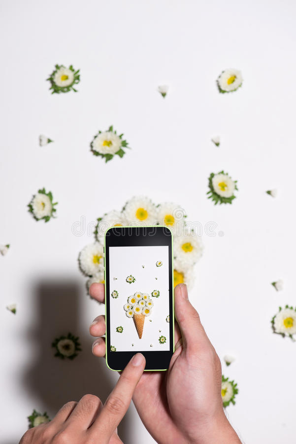 Remettez prendre la photo des fleurs dans le cône de gaufre Configuration plate photos stock