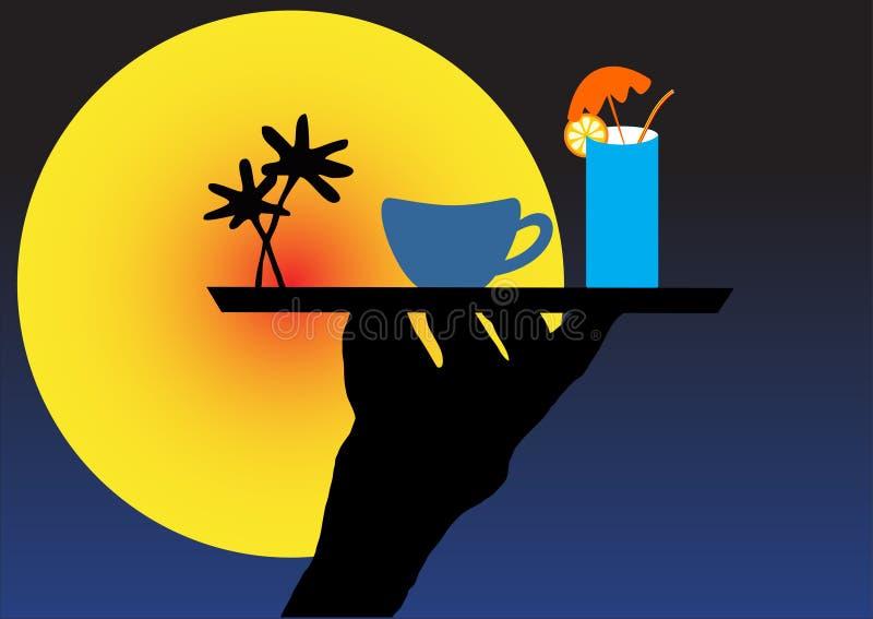 Remettez retenir un plateau avec la boisson illustration stock