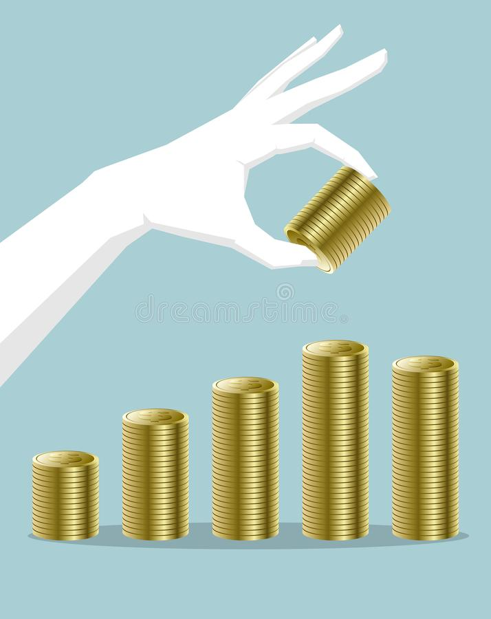 Remettez tenir des pièces de monnaie du dollar, recouvrant composent l'histogramme illustration de vecteur