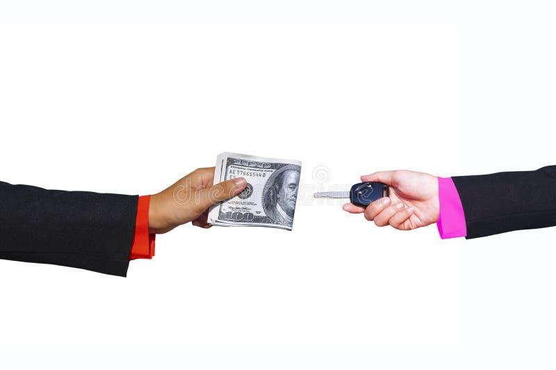 Remettez tenir l'argent, le billet de banque d'isolement, concept dans l'achat, payin photos libres de droits