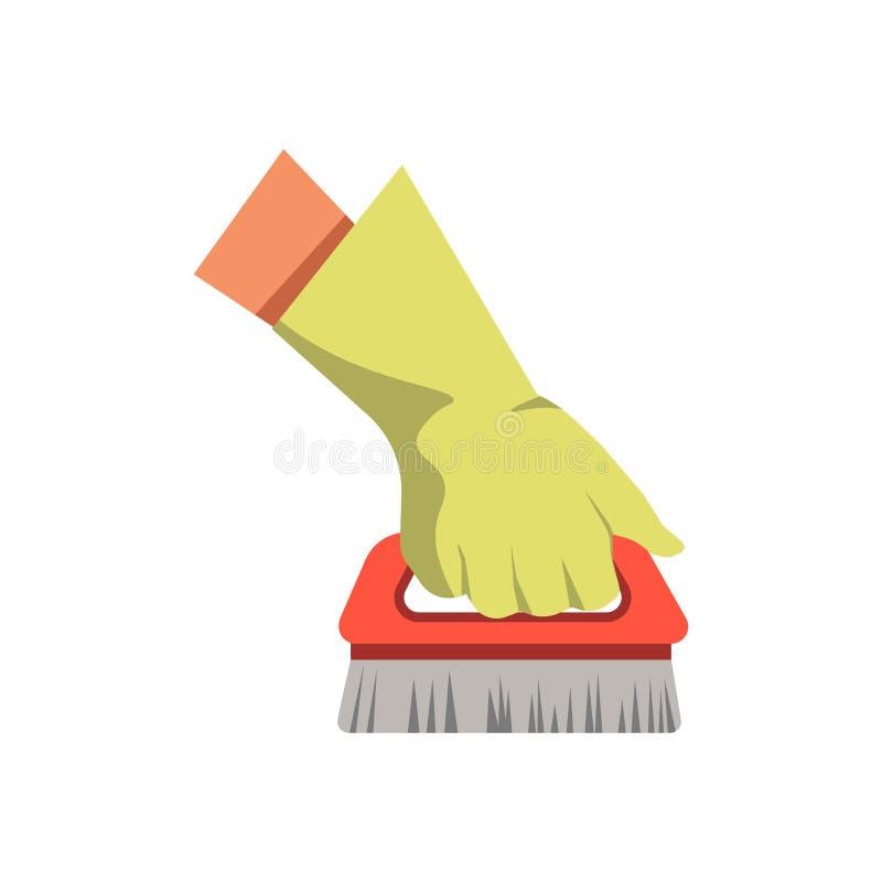 Remettez tenir l'icône d'isolement par appartement de vecteur de balai de brosse de nettoyage illustration stock