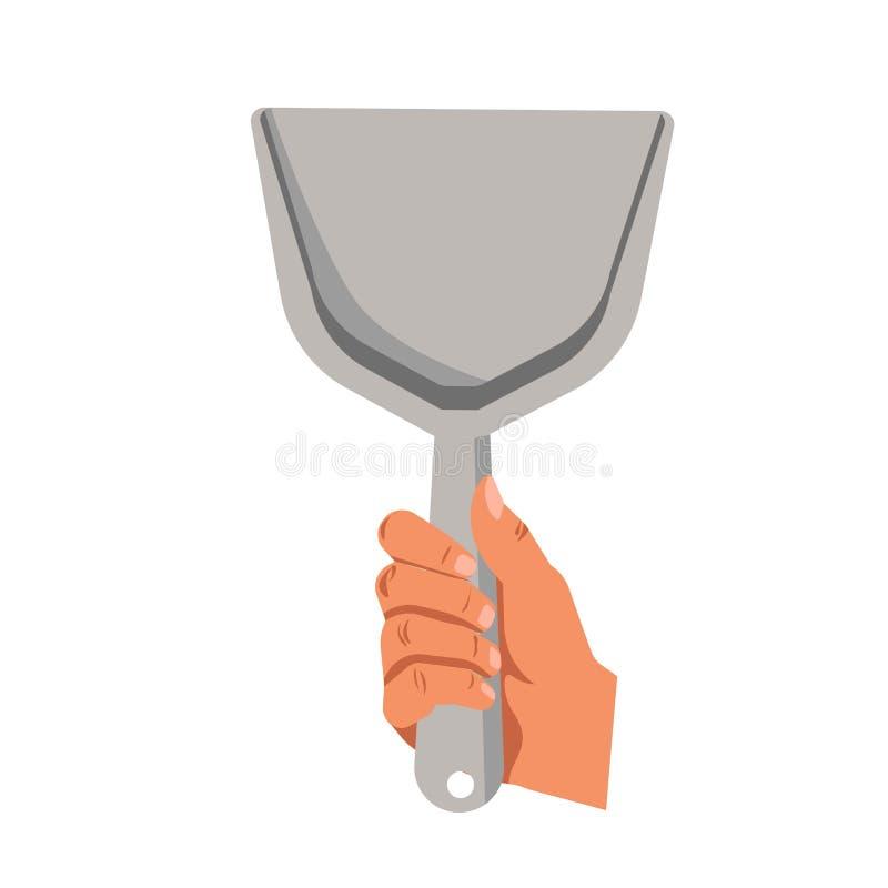 Remettez tenir l'icône d'isolement par appartement de vecteur de scoop de la poussière illustration de vecteur