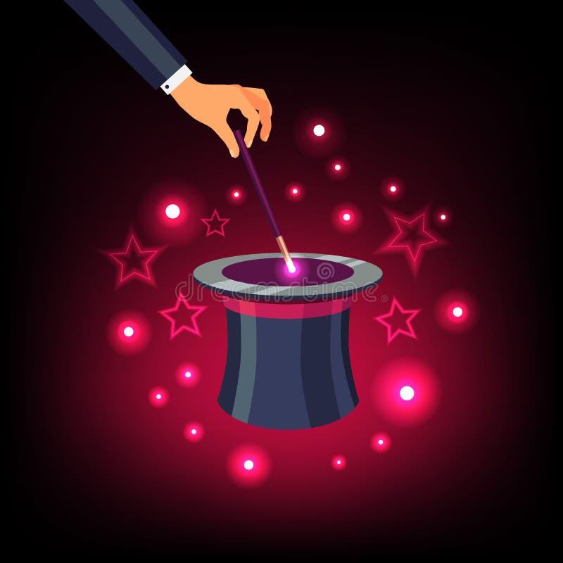 Remettez tenir la baguette magique magique au-dessus d'un chapeau supérieur magique illustration de vecteur