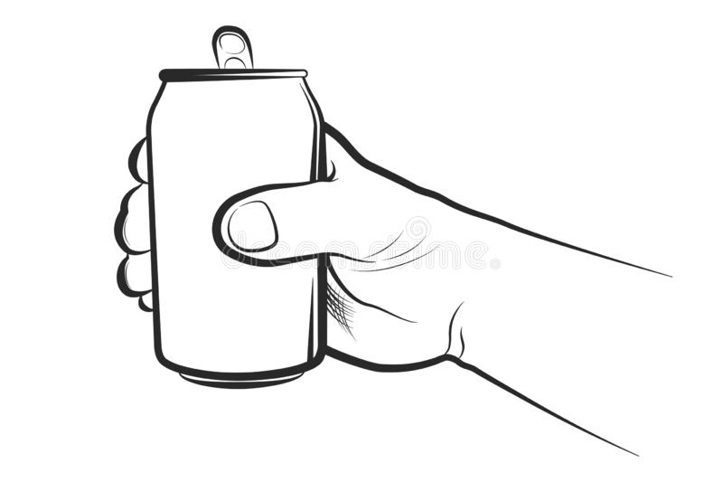 Remettez tenir la boîte de boisson sur un fond blanc illustration libre de droits