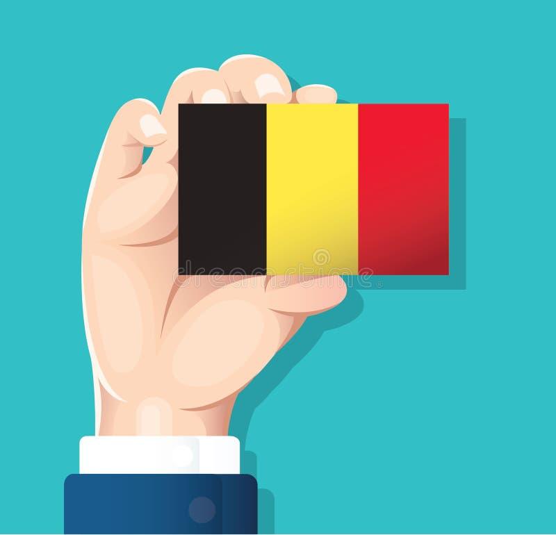 Remettez tenir la carte de drapeau de la Belgique avec le fond bleu Illustration EPS10 de vecteur illustration libre de droits