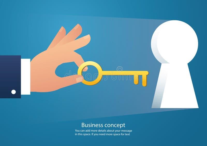 Remettez tenir la grande clé dans l'illustration de vecteur de trou de la serrure illustration de vecteur