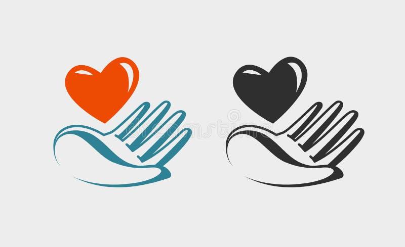 Remettez tenir le coeur, l'icône ou le symbole rouge Amour, charité, santé, logo de donation Étiquette de vecteur illustration stock