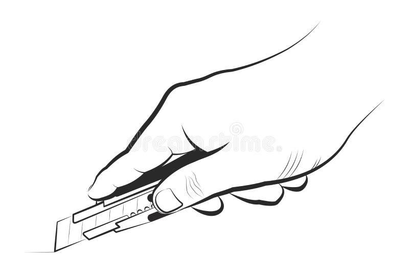 Remettez tenir le couteau de service sur un fond blanc illustration stock