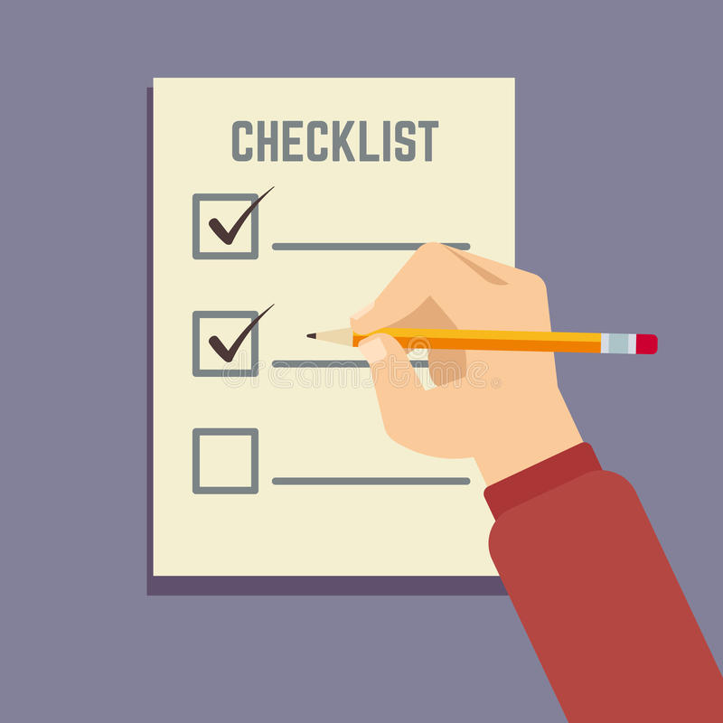 Remettez tenir le crayon avec l'illustration plate de vecteur de liste de contrôle de presse-papiers illustration libre de droits