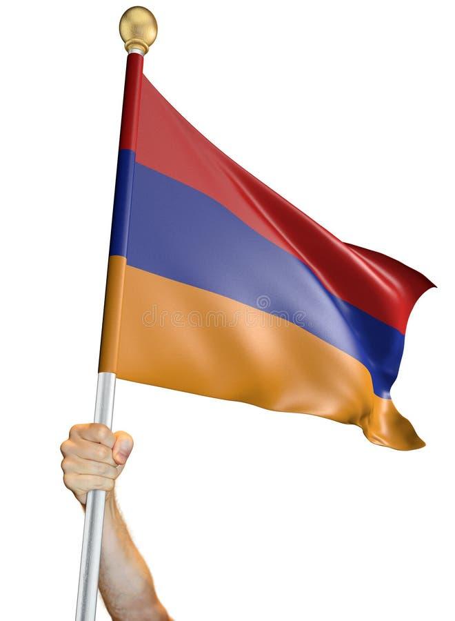 Remettez tenir le drapeau de l'Arménie sur un fond blanc, le rendu 3D illustration stock