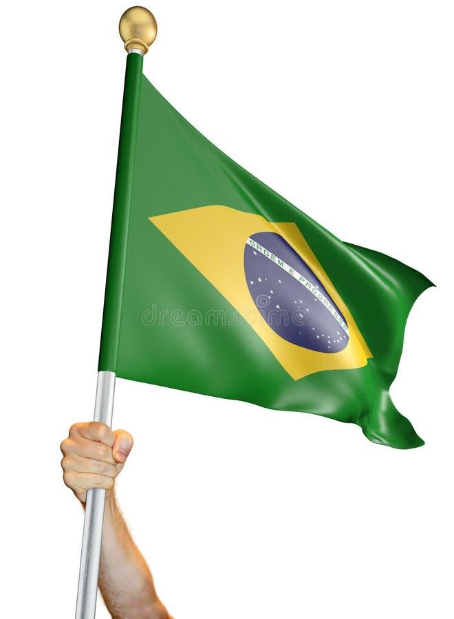 Remettez tenir le drapeau du Brésil a isolé sur un fond blanc, le rendu 3D image libre de droits