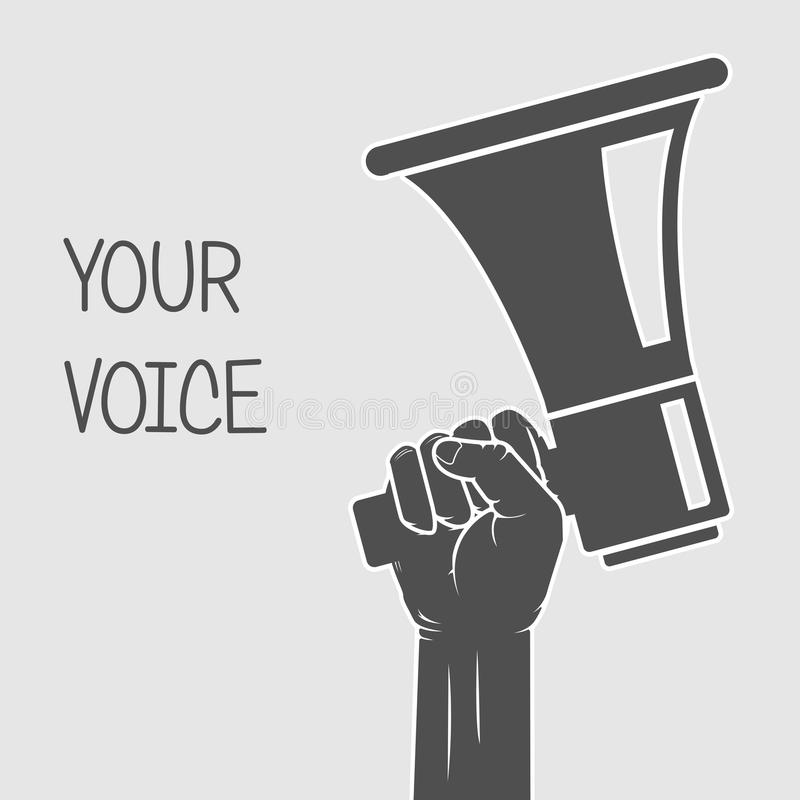 Remettez tenir le mégaphone - concept de voix et d'opinion illustration stock