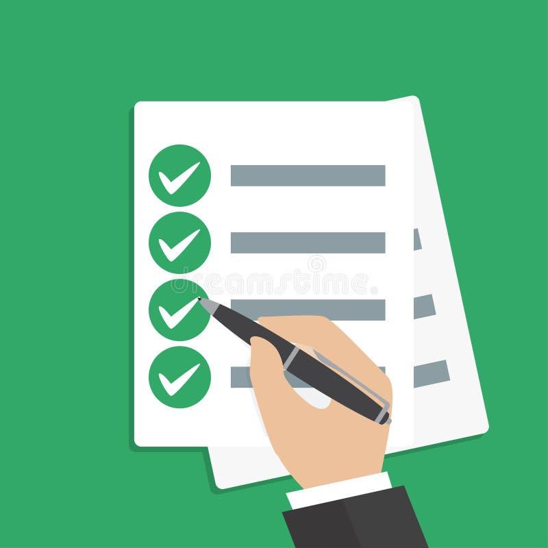 Remettez tenir le papier d'affaires avec la liste de contrôle et le stylo illustration libre de droits