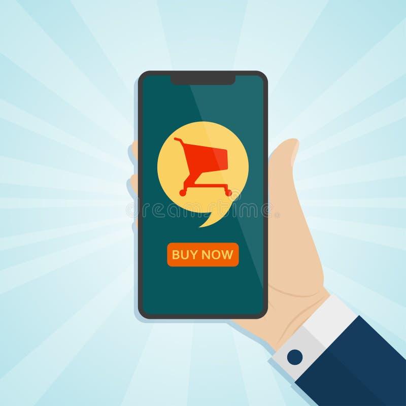 Remettez tenir le smartphone avec le caddie sur un écran illustration stock