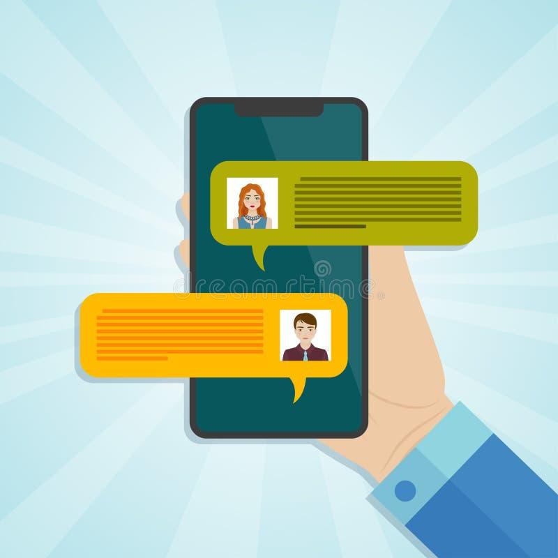 Remettez tenir le smartphone avec l'avis de messages de causerie sur l'écran illustration stock