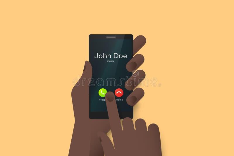 Remettez tenir le smartphone avec un doigt au-dessus d'écran tactile Illustration matérielle de vecteur de conception avec le fai illustration stock