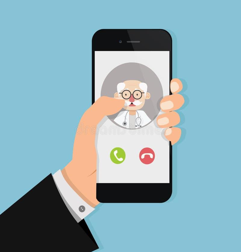 Remettez tenir le smartphone avec le vieux docteur à l'appel illustration stock