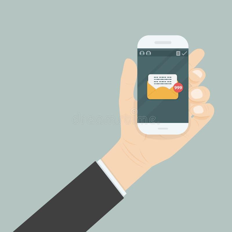 Remettez tenir le smartphone et l'écran tactile avec la messagerie textuelle illustration stock