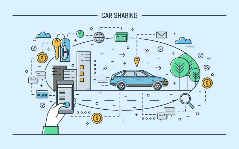 Remettez tenir le smartphone et l'automobile sur la rue de ville Concept de partager de voiture et de service électronique de loc illustration libre de droits