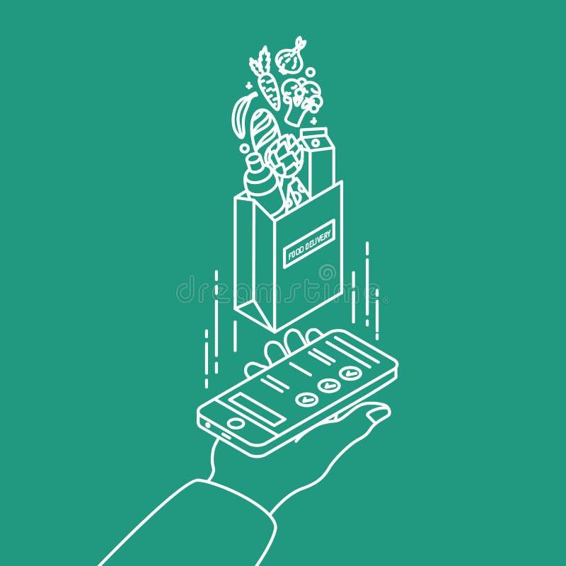 Remettez tenir le smartphone et le sac de papier avec des produits dessinés avec des courbes de niveau sur le fond vert Service d illustration libre de droits