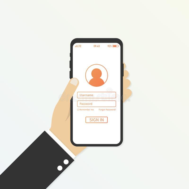 Remettez tenir le téléphone intelligent avec la page de forme de connexion de l'utilisateur et le bouton de connexion Boîte d'use illustration stock