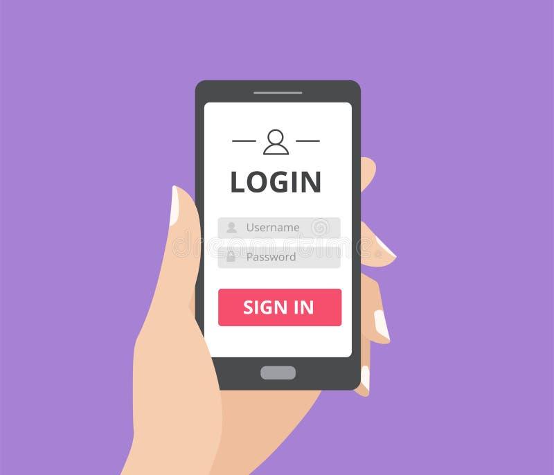 Remettez tenir le téléphone intelligent avec la page de forme de connexion de l'utilisateur et le bouton de connexion Boîte d'use illustration de vecteur
