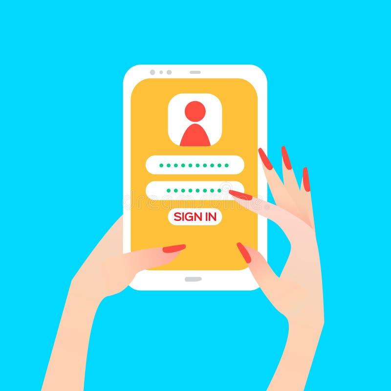 Remettez tenir le téléphone intelligent chez la main des femmes avec la page de connexion sur l'écran illustration stock