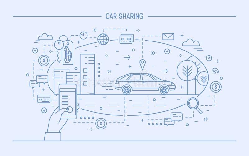 Remettez tenir le téléphone portable et l'automobile sur la rue de ville Concept de partager de voiture et de service de location illustration stock